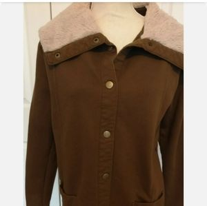 2/$10 Brown jacket with sherpa collar detail